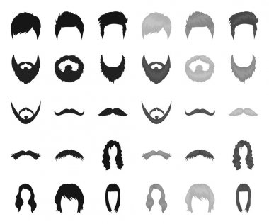 Mustache and beard, hairstyles black.mono icons in set collection for design. Stylish haircut vector symbol stock web illustration.