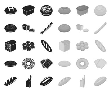 Types of bread black.mono icons in set collection for design. Bakery products vector symbol stock web illustration.