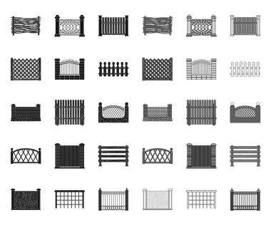 Different fence black.mono icons in set collection for design.Decorative fencing vector symbol stock web illustration.