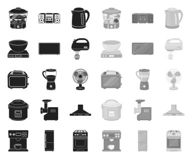 Types of household appliances black.mono icons in set collection for design.Kitchen equipment vector symbol stock web illustration.