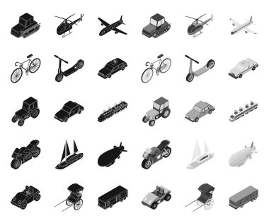 Different types of transport black.mono icons in set collection for design. Car and ship isometric vector symbol stock web illustration.