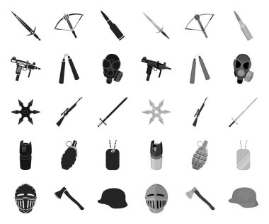 Types of weapons black.mono icons in set collection for design.Firearms and bladed weapons vector symbol stock web illustration.