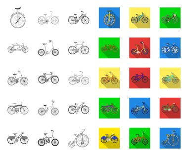 Various bicycles mono,flat icons in set collection for design. The type of transport vector symbol stock web illustration.