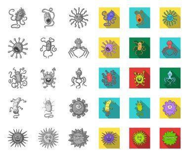 Types of funny microbes mono,flat icons in set collection for design. Microbes pathogenic vector symbol stock web illustration.