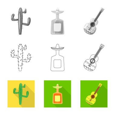Isolated object of cafe and Latin symbol. Collection of cafe and national stock vector illustration.
