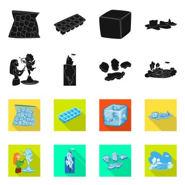 Isolated object of texture  and frozen  icon. Set of texture  and transparent  stock vector illustration.