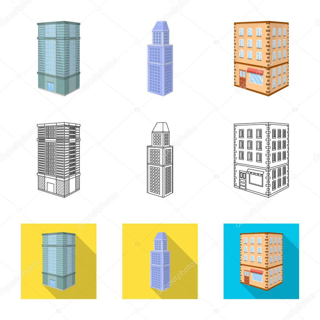 Isolated object of construction and building symbol. Collection of construction and estate vector icon for stock.