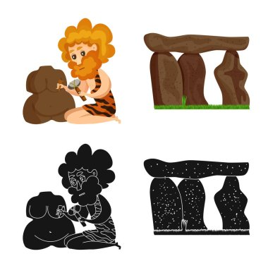 Vector illustration of evolution and prehistory logo. Collection of evolution and development stock symbol for web.