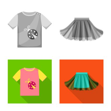 Isolated object of fashion and garment symbol. Set of fashion and cotton vector icon for stock.