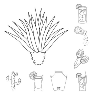 Isolated object of Mexico and tequila icon. Collection of Mexico and fiesta stock symbol for web. icon