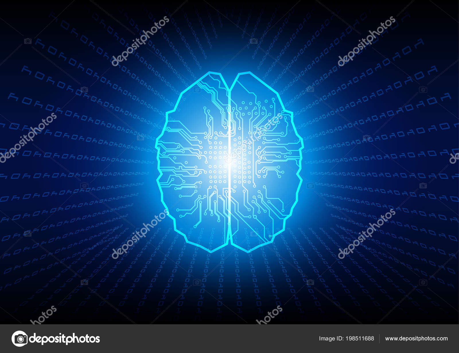 Abstract Brain Binary Code Technology Background Concept Abstact With Circuit Board And Stock Images Illustration Vector