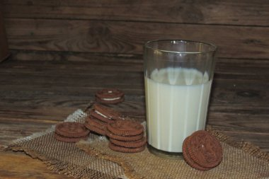 glass of milk with homemade cookies