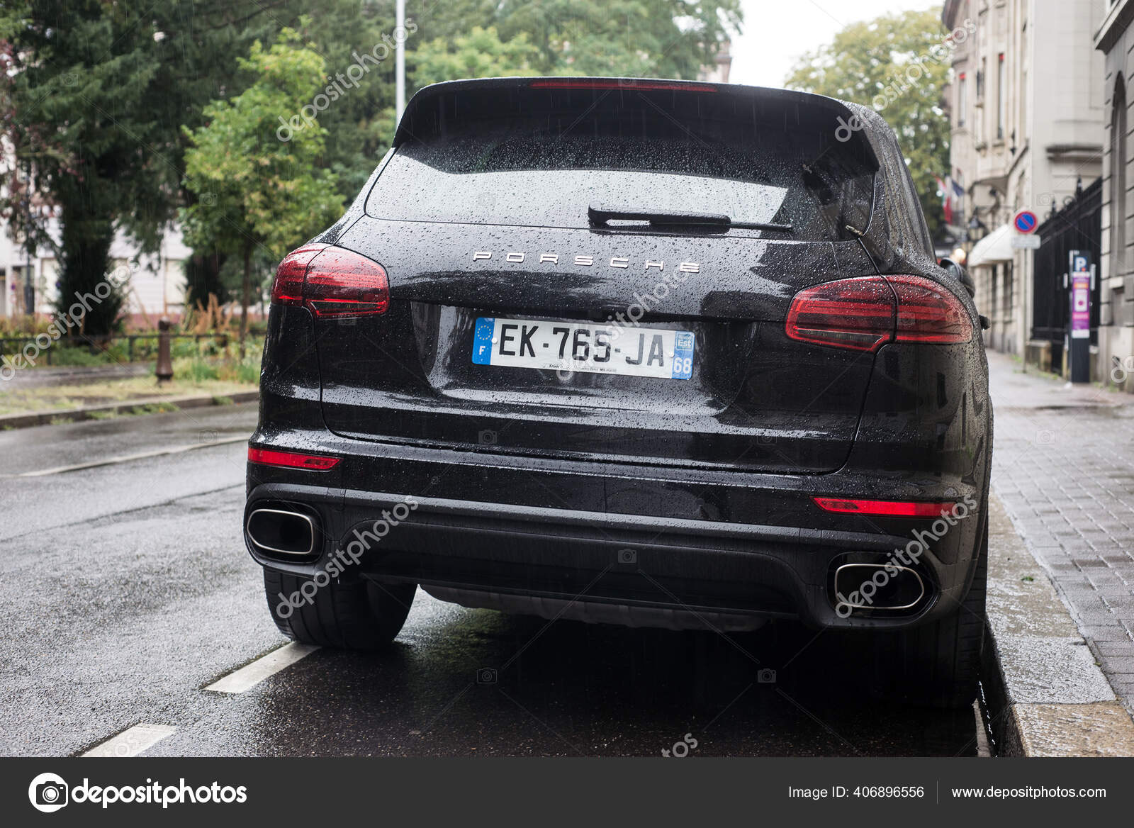Mulhouse France August 2020 Rear View Black Porsche Cayenne Parked Stock Editorial Photo C Neydtstock 406896556