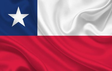 Flag of Chile country on wavy silk fabric background panorama - illustration