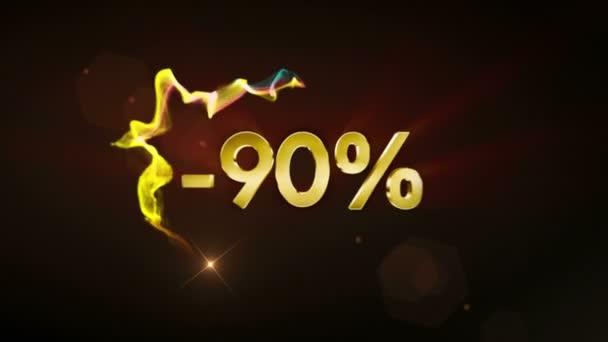 -90% vypnuto animace textu, koncept slevy, pozadí, vykreslování, 4k