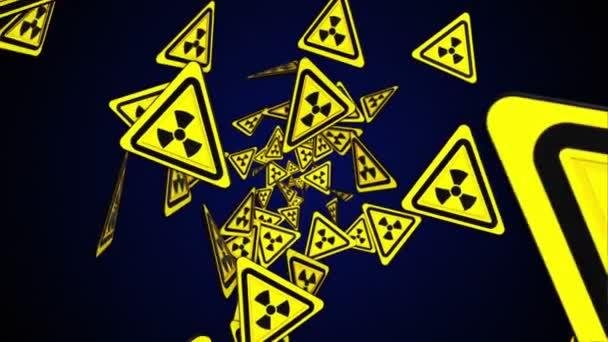Nukleáris szimbólum részecskék Ring, sugárzás veszély Danger szimbólum animáció, renderelés, háttér, loop, 4k