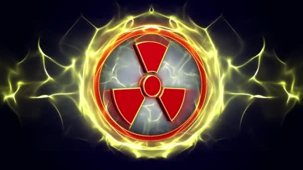 Nukleáris szimbólumokat animáció, Rendering, alfa csatornával, hurok, 4k