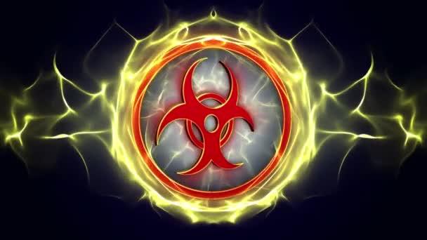 Biohazard, Strahlungsrisiko Gefahrensymbole Animation, Rendering, Hintergrund, Loop, 4k