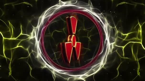 Nukleáris szimbólum Alfa-csatornás, sugárzás veszély Danger szimbólum animáció, renderelés, háttér, loop, 4k