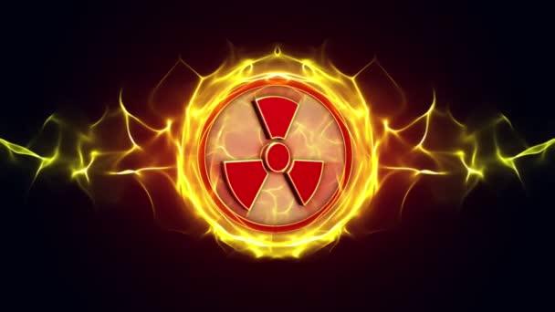 Nukleáris szimbólumok, sugárzás veszély veszély szimbólum animáció, renderelés, háttér, loop, alfa-csatorna, 4k