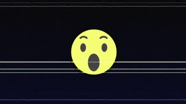 WOW Glitch Emoticon Animation, Background, Loop, with Alpha Channel, 4k