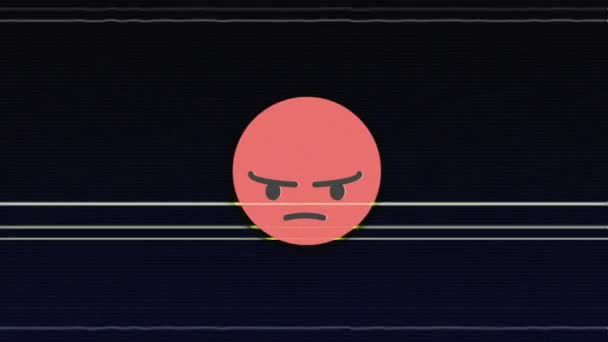 ANGRY Glitch Emoticon Animation, Background, Loop, with Alpha Channel, 4k