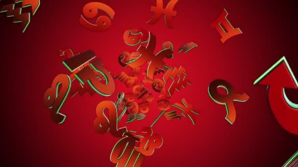 Fallende Tierkreis Zeichen, Horoskop, Hintergrund, mit Alpha-Kanal, Loop, 4k