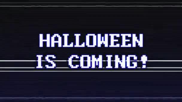 halloween is coming glitch text animation, hintergrund, rendering, loop, mit alpha channel, 4k