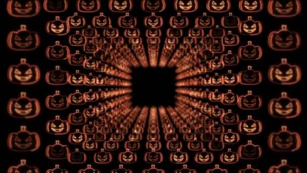 Halloween Kürbisse Neon Hintergrund, Animation, Loop, 4k