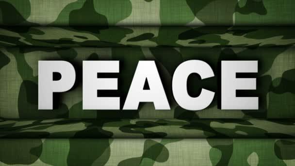 Béke szöveg és a katonai Gate animáció, renderelés, háttér, loop, 4k