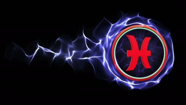 Zodiákus jelek részecskék gyűrű, horoszkóp, háttér, hurok, 4k