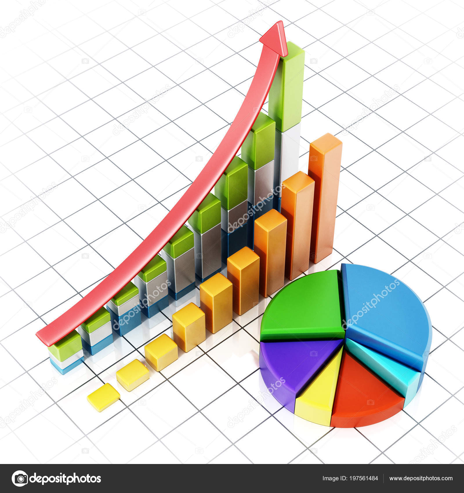 rising sale bars pie chart showing financial data illustration