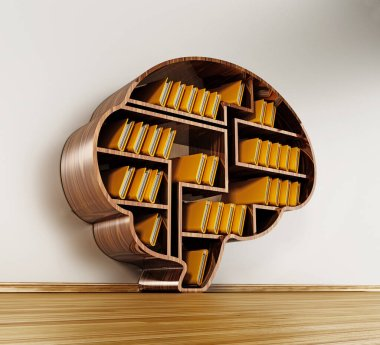 Brain shaped library full of folders. 3D illustration.