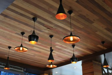 modern light lamp hanging interior decorative on wooden celling