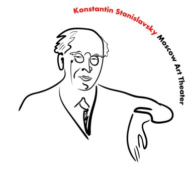 Portrait of a famous Russian teacher, director, actor, writer, founder of the Moscow Art Theater Stanislavsky