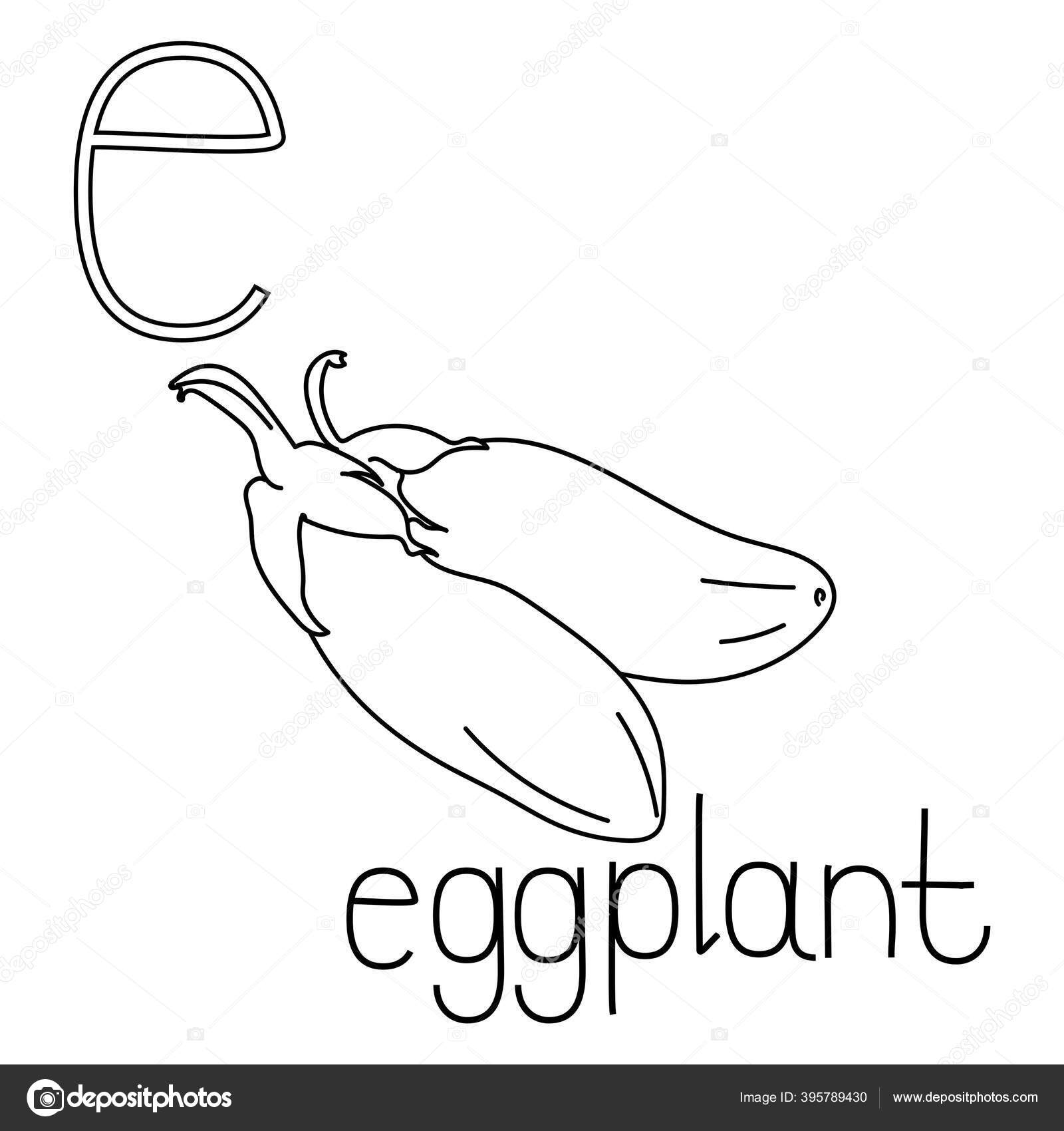 coloring page fruit vegetable abc letter eggplant educated coloring card stock vector c sunnycoloring 395789430 https depositphotos com 395789430 stock illustration coloring page fruit vegetable abc html