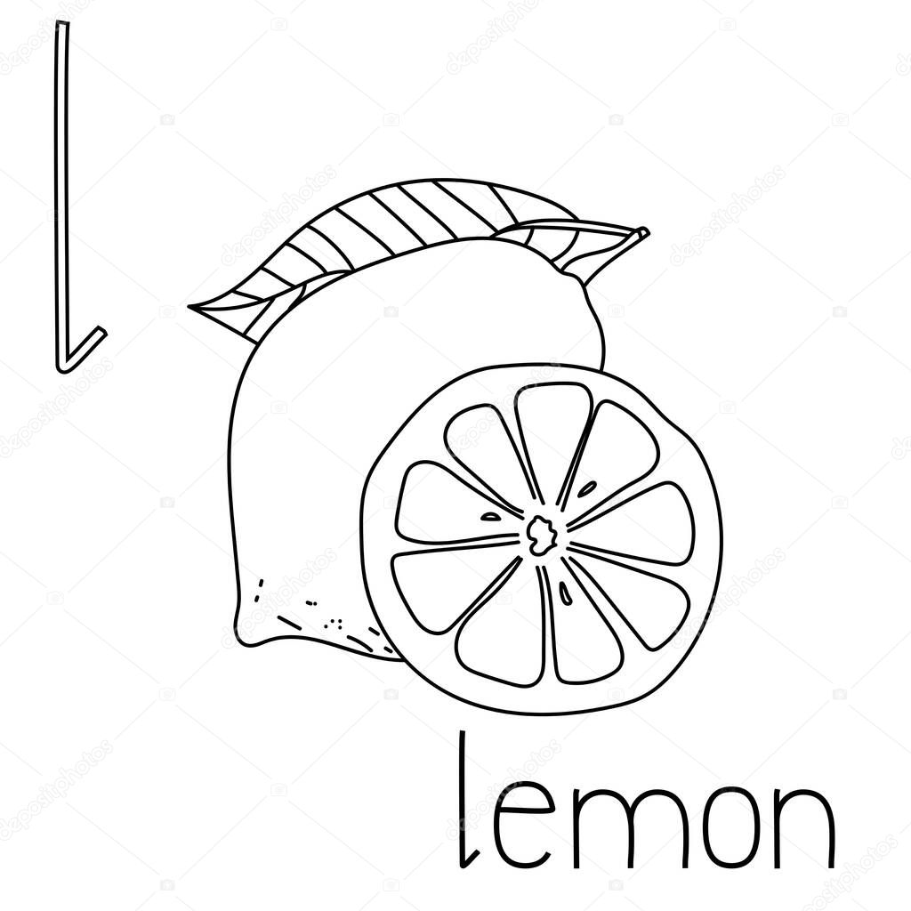 Coloring Page Fruit And Vegetable Abc Letter L Lemon Educated Coloring Card For Creativity Premium Vector In Adobe Illustrator Ai Ai Format Encapsulated Postscript Eps Eps Format