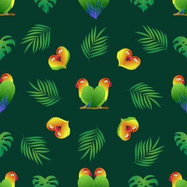 Seamless pattern with enamored parrots and monstera on green background. Heart shaped lovebirds stock vector