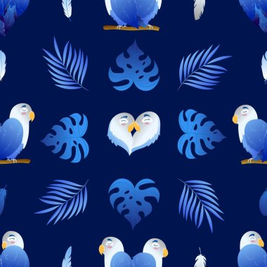 Seamless beautiful pattern with enamored parrots and monstera on navy blue background. Heart shaped lovebirds. Wrap, design, fabric texture, background stock vector