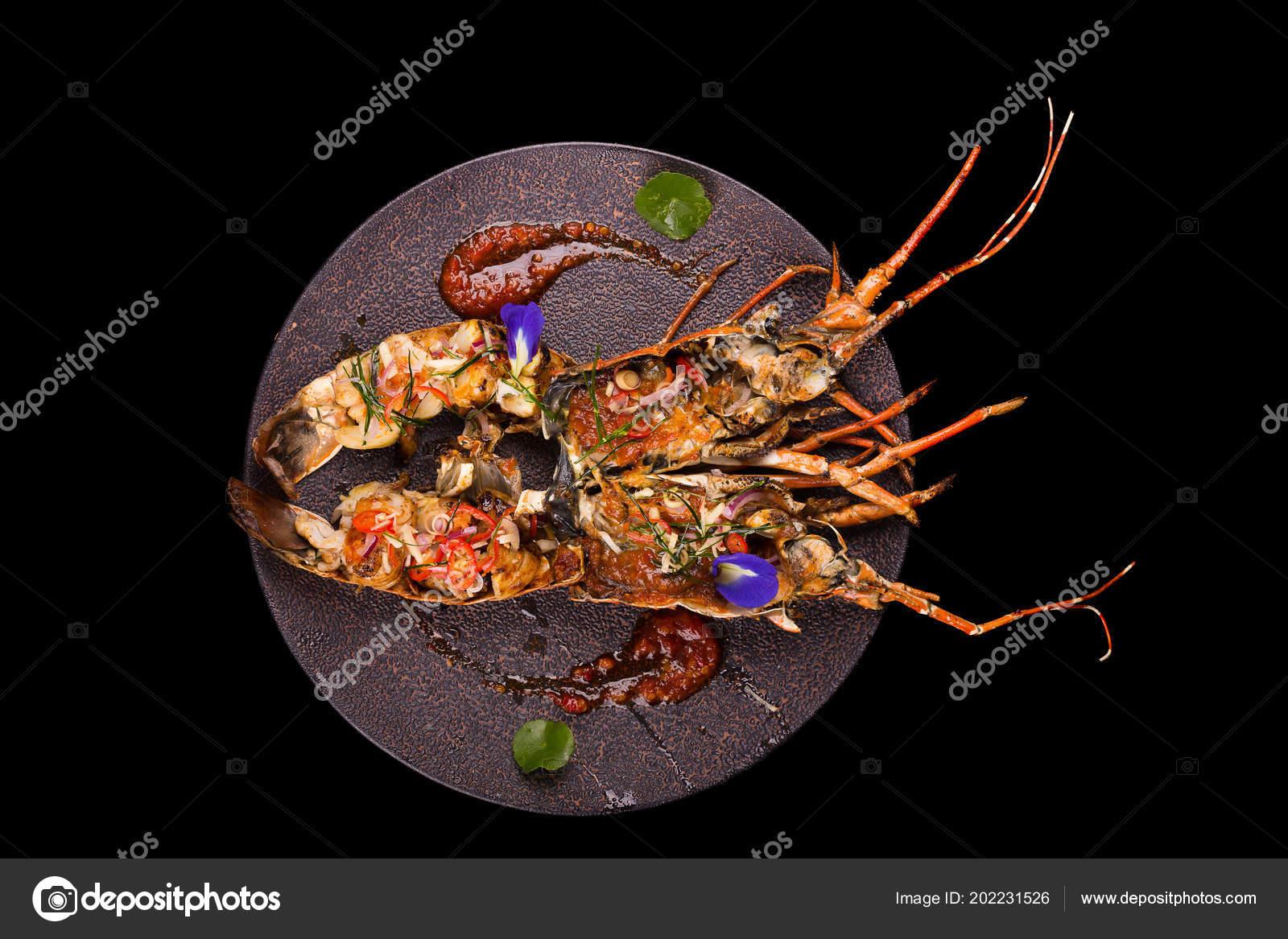 Tasty Lobster Dinner Black Background ...