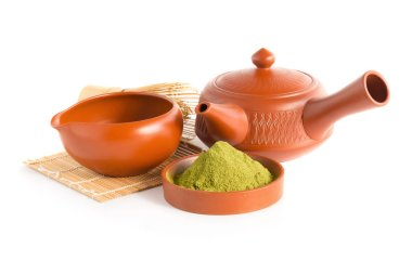 Matcha Green Tea and Japanese tea set. Ceramic teapot and a steaming cup Isolated on white background.