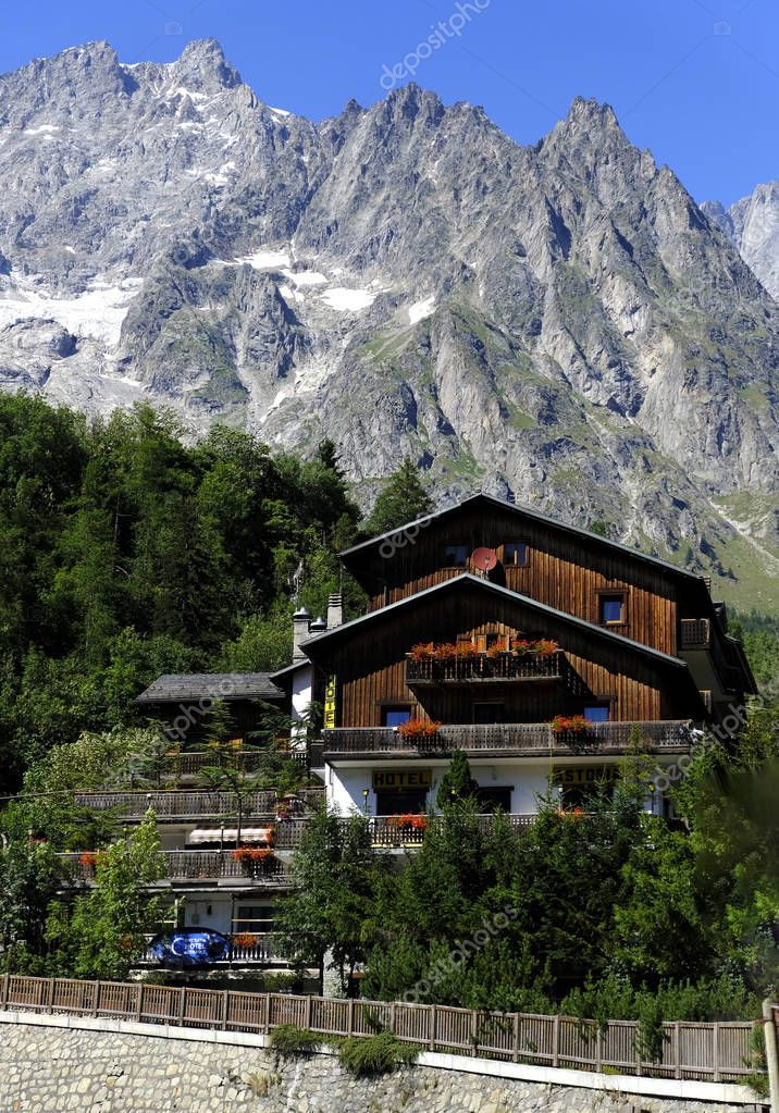 Entreves, Courmayeur, Italy - August 10, 2018: Beautiful village with Skyway Monte Bianco mountain cable car, Italy.