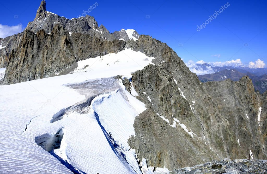 The Mont Blanc, Italian Monte Bianco, the highest mountain in the Alps.