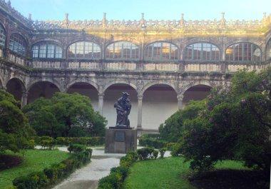 Statue of Alonso de Fonseca by sculptor Ramon Conde Bermudez. Archbishop Fonseca College, University library. Santiago de Compostela, Galicia, Spain