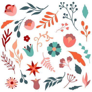 Vector set illustrations of abstract flowers and leaves. Big stock collection of floral elements icon