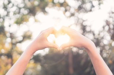 Female hands heart shape on nature bokeh sun light flare and blur leaf abstract background.