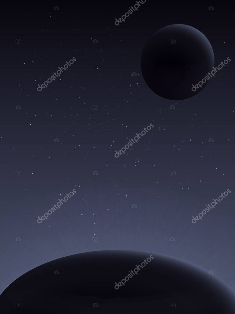 View from space. The cosmic landscape is in dark tones. Radiation of nuclear decay energy. Interplanetary travel.