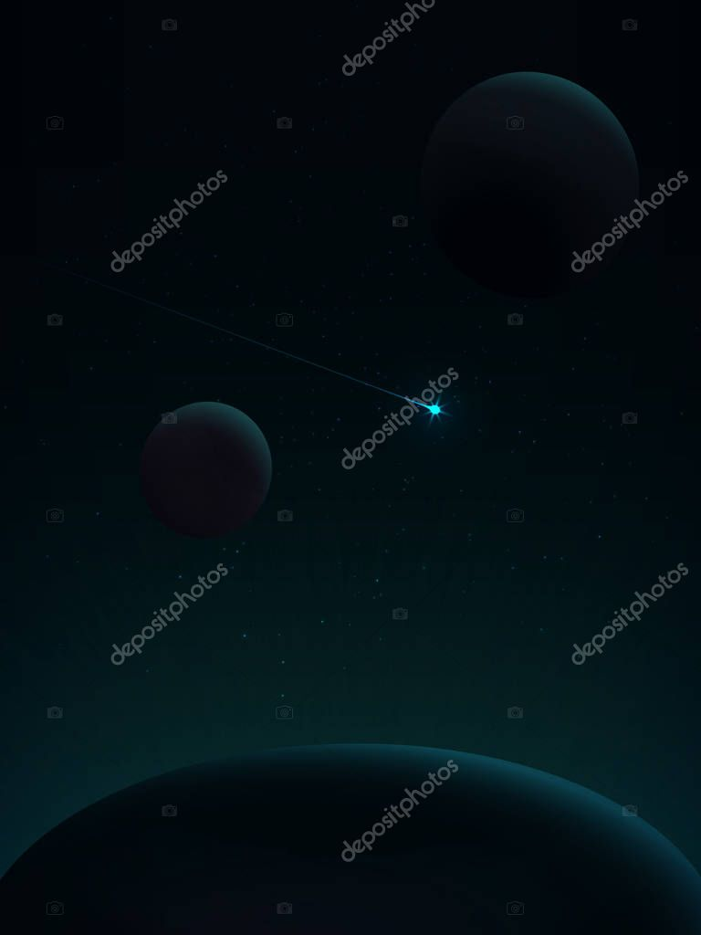 Among the stars flying comet. View from space. Space landscape in green tones. Space travel. The energy of nuclear decay or quantum leap in the energy levels of the atom.