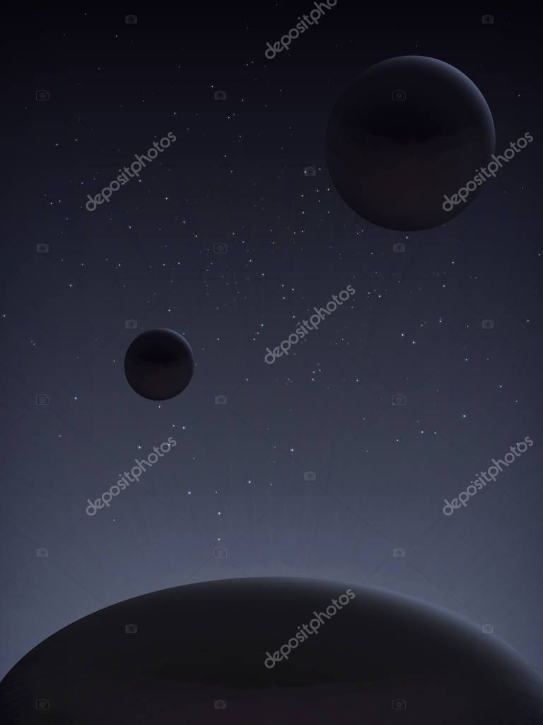 The cosmic landscape is in dark tones. Interplanetary travel. The planet's satellites. View from space. Parade of planets.