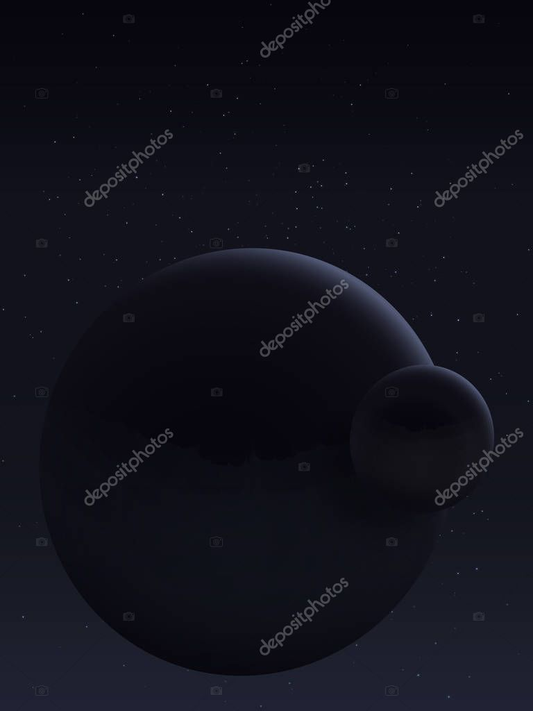 Interstellar travel and space tourism. The dark side of the planet and its moon. Scientific research of weightlessness. The cosmic landscape is in dark tones